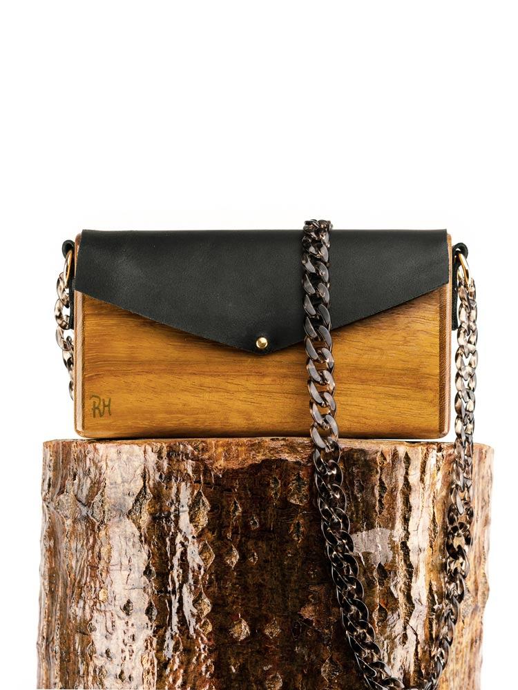 R&M atellier Ξύλινη χειροποίητη τσάντα Ηρώ | Ιρόκο