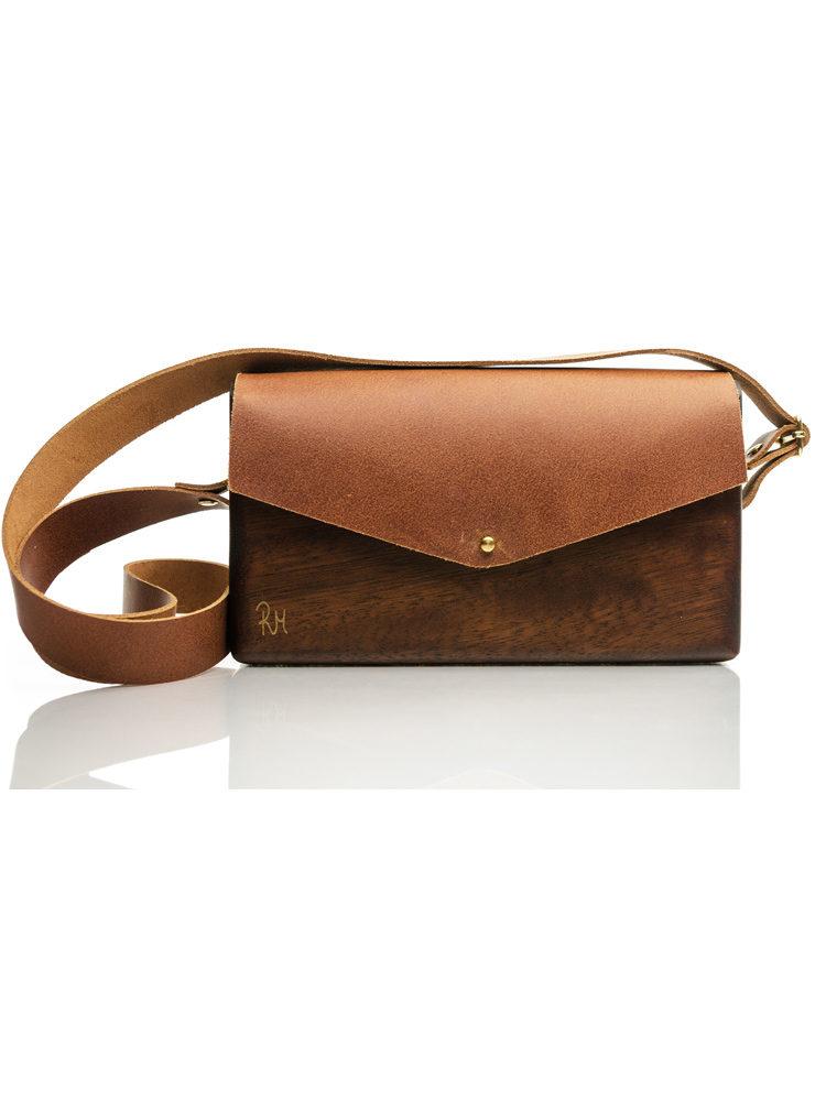 Ξύλινη χειροποίητη τσάντα GLOSS από ξύλο Ιρόκο με γνήσιο δέρμα (μοσχάρι) χρυσές λεπτομέρειες και λουράκι κοκάλινο μαύρη ταρταρούγα.