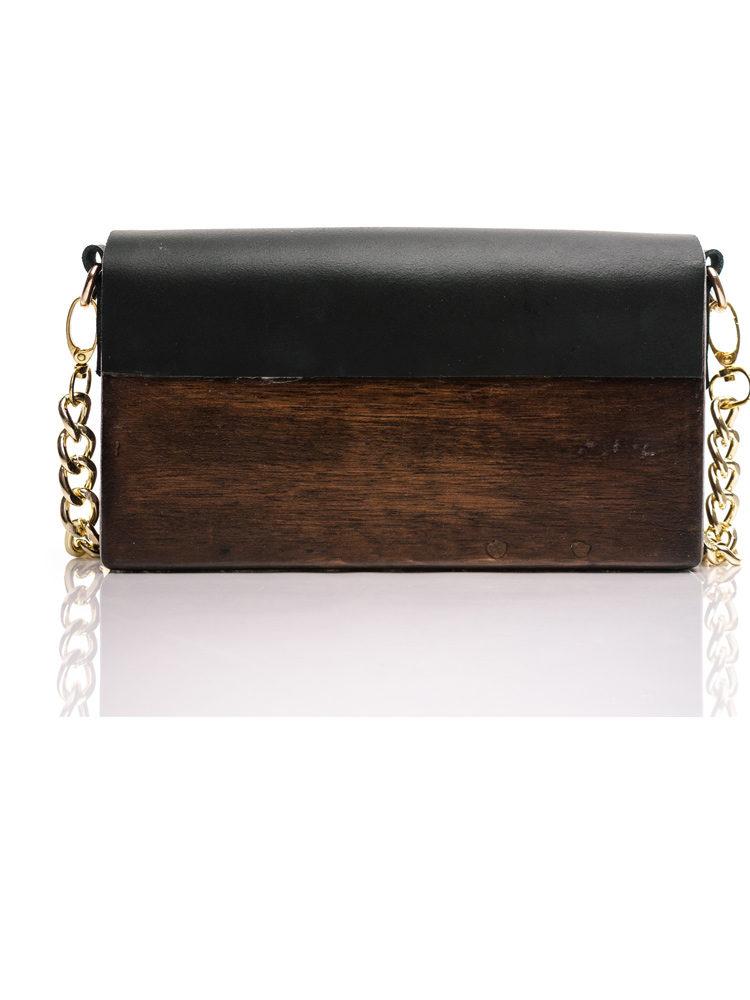 RM Ξύλινη χειροποίητη τσάντα Χρυσίης   Ιρόκο
