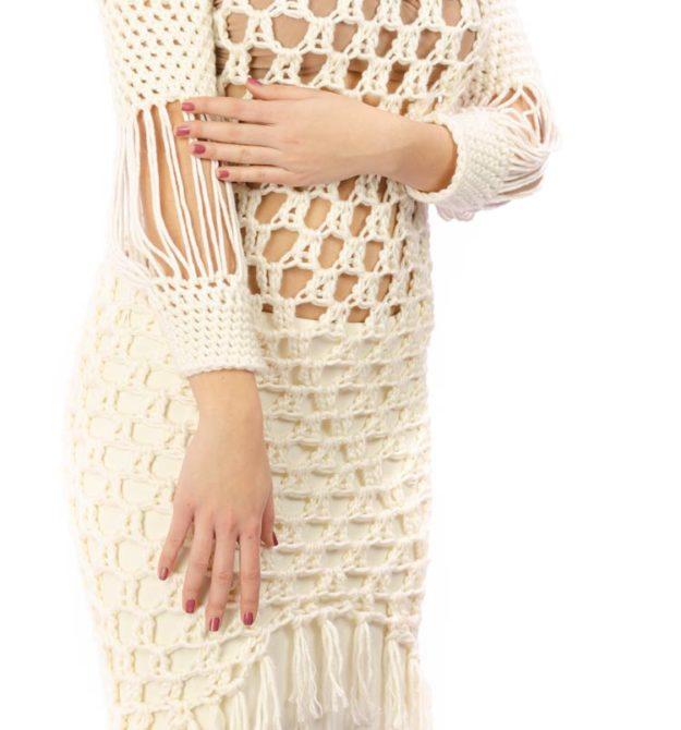 Εκρού χειροποίητο φόρεμα | White Dress | R&M Atellier.gr