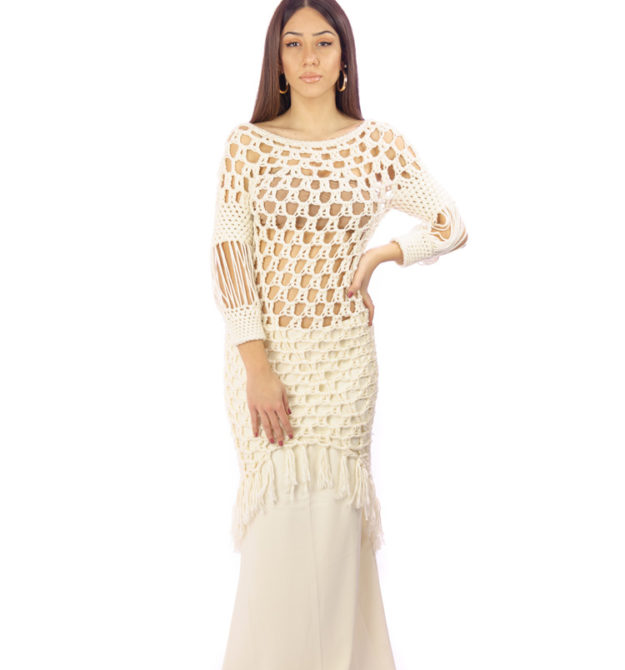 Λευκό χειροποίητο φόρεμα | Hand Knitted White Dress | R&M Atellier.gr