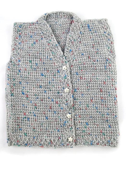 Χειροποίητο βρεφικό γιλέκο/ζακέτα unisex Baby Grey | Χειροποίητα ρούχα για παιδιά R&M atellier.gr