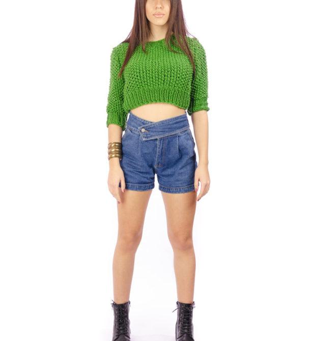 Χειροποίητη μάλλινη μπλούζα πράσινη, R&M atellier