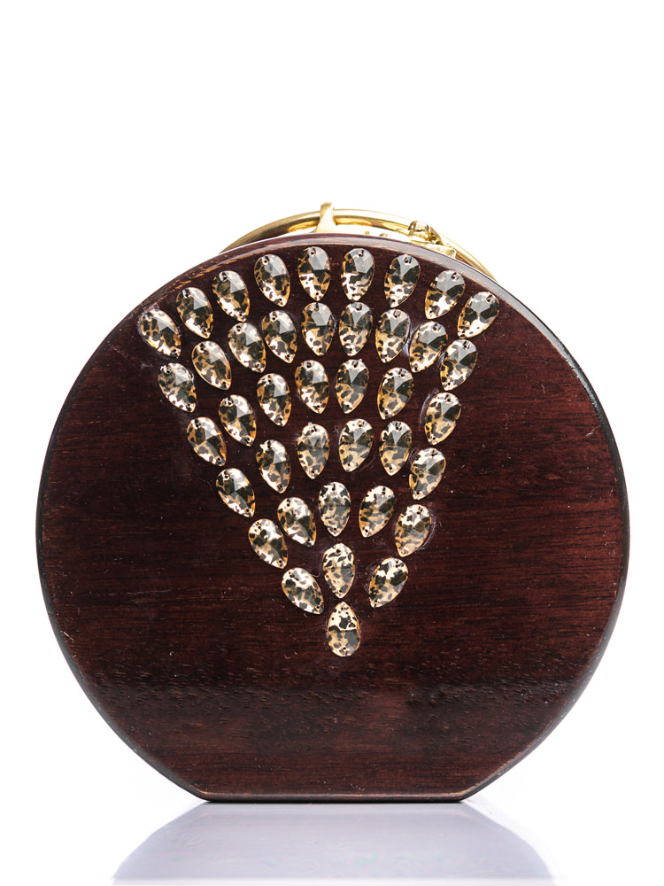 Στρογγυλή ξύλινη χειροποίητη τσάντα Ήρα | Ιρόκο | R&M atellier.gr