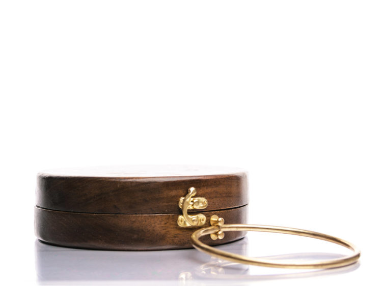 Στρογγυλή ξύλινη χειροποίητη τσάντα Κασσάνδρεια | Ιρόκο | R&M atellier.gr