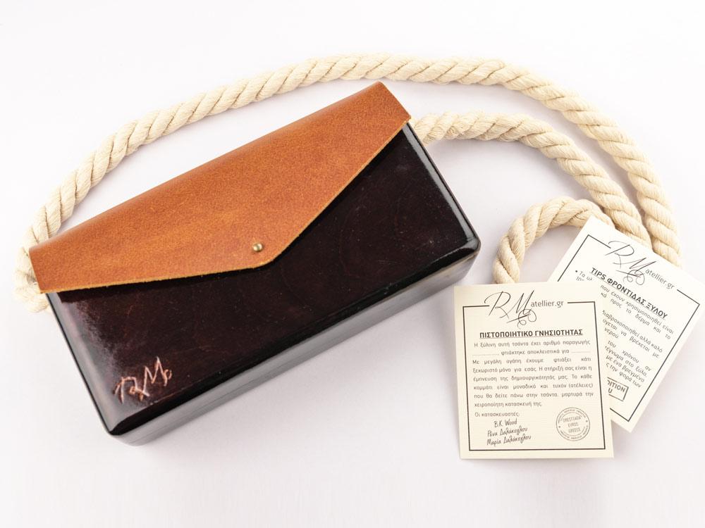 Ξύλινη χειροποίητη τσάντα Κίρκη | Ιρόκο | R&M atellier