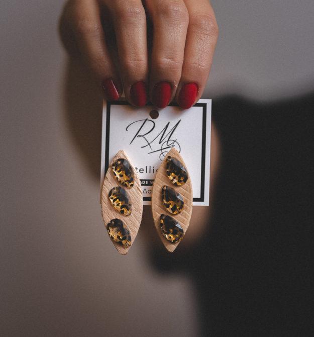 Χειροποίητα σκουλαρίκια από ξύλο οξιάς