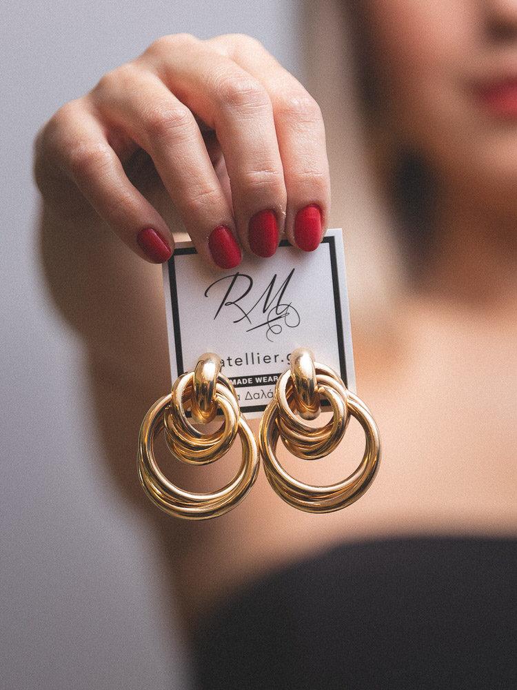 Χρυσά σκουλαρίκια με διπλό κρίκο
