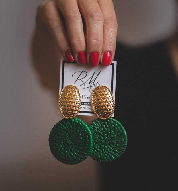 Σκουλαρίκια πράσινα με ψάθα
