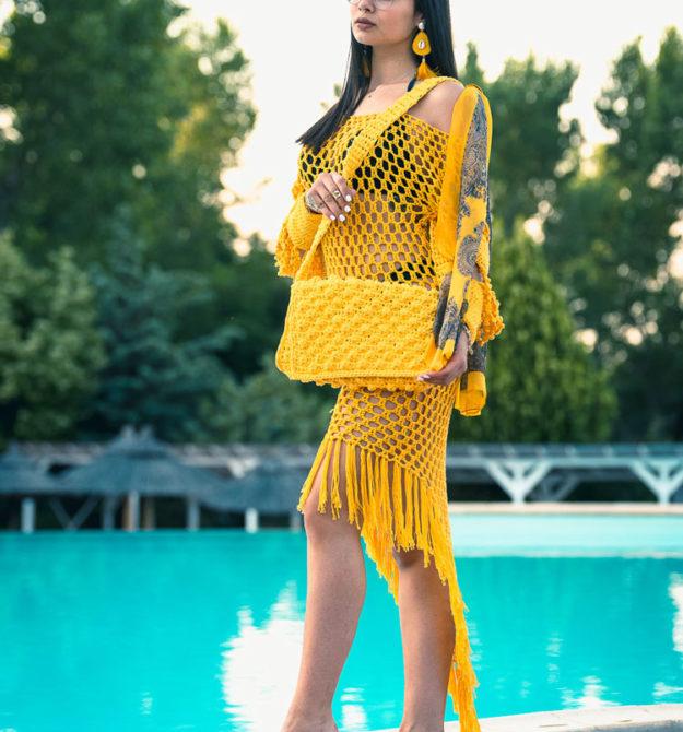Χειροποίητη κίτρινη πλεκτή τσάντα