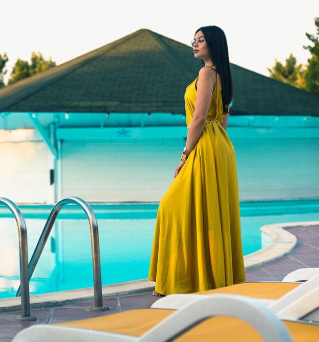 Σατέν maxi φόρεμα