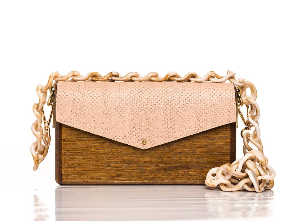 Χειροποίητη ξύλινη τσάντα Ισμήνη