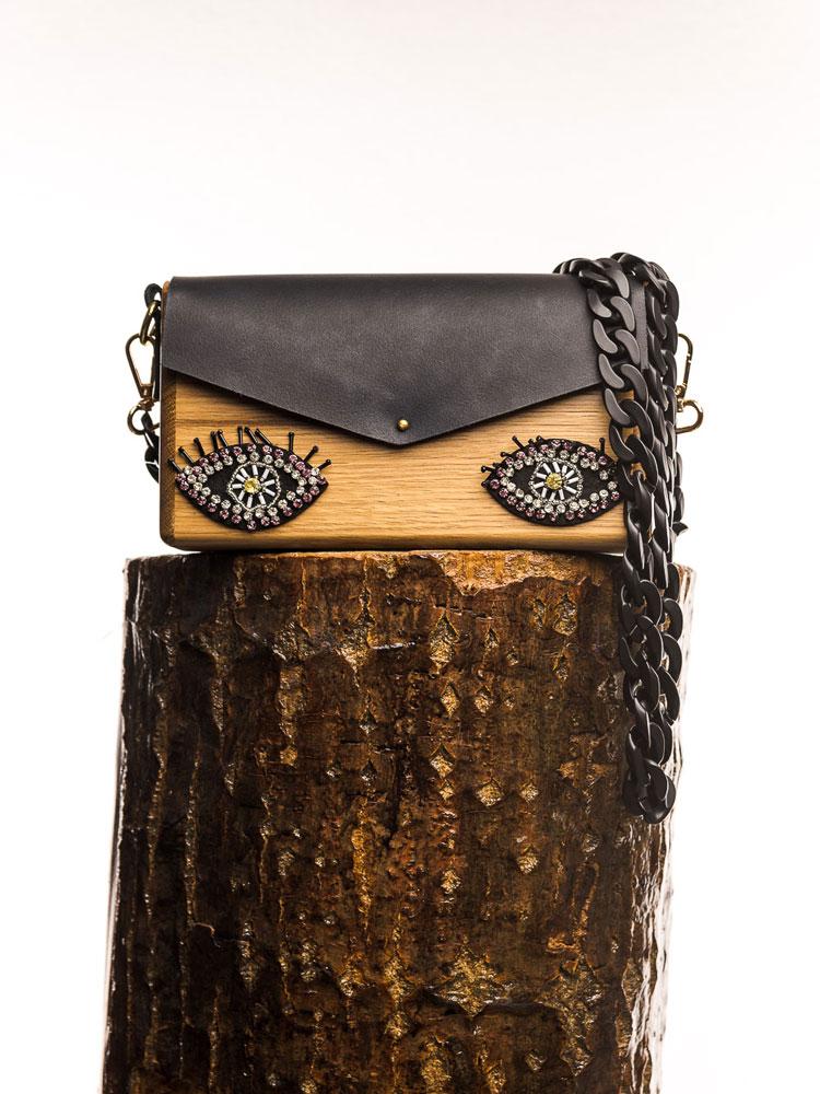 Χειροποίητη ξύλινη τσάντα Ματένια