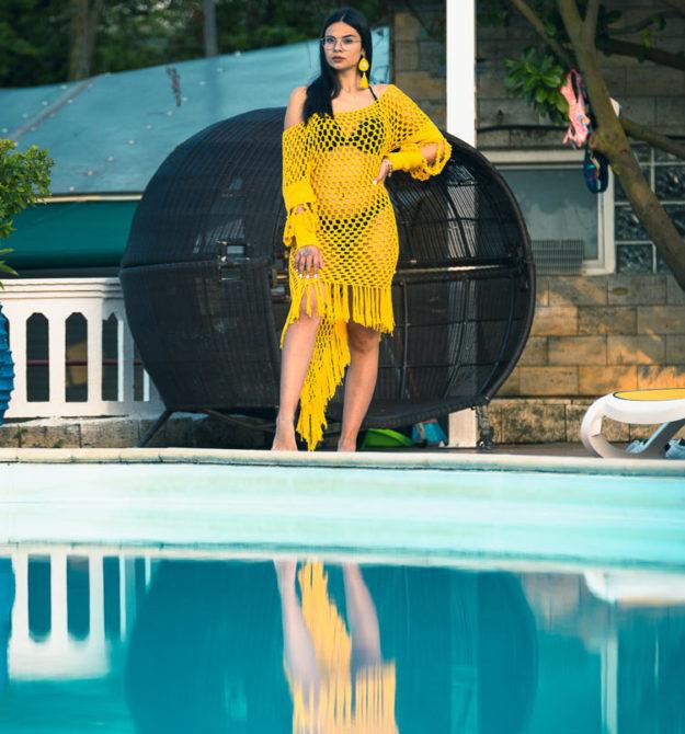 Κίτρινο χειροποίητο βαμβακερό φόρεμα