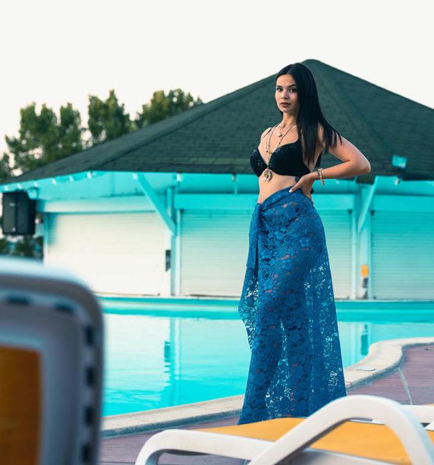 Μπλε ρουά χειροποίητη φούστα